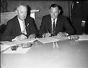 20/07/1961<br /> 07/20/1961<br /> 20 July 1961<br /> Mr. John Sisk signs the contract for the construction of Liberty Hall. Liberty Hall is the headquarters of the Services, Industrial, Professional, and Technical Union (SIPTU). It was formerly the tallest storeyed building in Ireland.