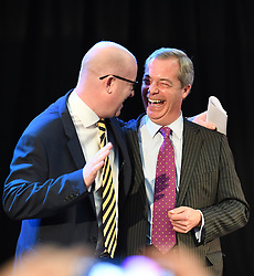 Bekanntgabe des neuen UKIP-Parteivorsitzenden in London / 281116 *** LONDON, UK 28TH NOVEMBER 2016: Nigel Farage and New Ukip Leader Paul Nuttall at the Announcement of The New UKIP Leader at The Emmanuel Center, London, England. 28th November 2016.