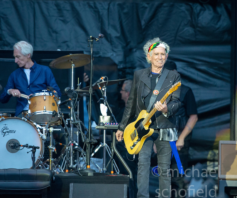 Charlie Watts and Keith Richards of The Rolling Stones performs on stage at Murrayfield Stadium in Edinburgh, Scotland.