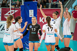 Playesr of Calcit Ljubljana celebrate during volleyball match between Nova KBM Branik and Calcit Volleyball Ljublana in Final of 1. DOL Slovenian Women National Championship 2016/17, on April 21, 2017 in Tabor, Maribor, Slovenia. Photo by Matic Klansek Velej / Sportida