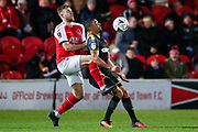Wimbledon forward Kwesi Appiah (9) brings the ball under control on his chest during the The FA Cup 3rd round match between Fleetwood Town and AFC Wimbledon at the Highbury Stadium, Fleetwood, England on 5 January 2019.