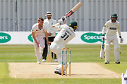 Chris Wright drives for 4 during the Specsavers County Champ Div 2 match between Leicestershire County Cricket Club and Derbyshire County Cricket Club at the Fischer County Ground, Grace Road, Leicester, United Kingdom on 28 May 2019.