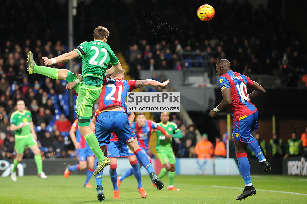 Sunderland's Sebastian Coates gets a shot away during Crystal Palace's clash with Sunderland in the Barclays Premier League at Selhurst Park