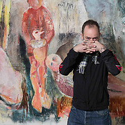 Artist Douglas Gordon beside a mural in studio 40 at GSA. The mural was found after coverings were removed after the fire . ++ Please note that the mural is not the work of Douglas Gordon ++<br /> <br /> Picture Robert Perry for The Herald and  Evening Times 18th Feb 2017