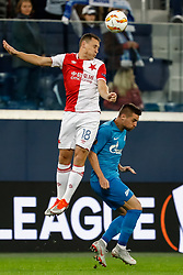 October 4, 2018 - Saint Petersburg, Russia - Robert Mak (R) of FC Zenit Saint Petersburg and Jan Boril of SK Slavia Prague vie for the ball during the Group C match of the UEFA Europa League between FC Zenit Saint Petersburg and SK Slavia Prague at Saint Petersburg Stadium on October 4, 2018 in Saint Petersburg, Russia. (Credit Image: © Mike Kireev/NurPhoto/ZUMA Press)
