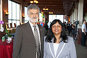 Cleveland Mayor Frank Jackson and Radhika Reddy of Ariel Ventures at the Grand Opening event of the Ariel International Center on July 12, 2012.