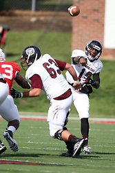 20 October 2012:  Kierra Harris gets protection from Harrison Menke during an NCAA Missouri Valley Football Conference football game between the Missouri State Bears and the Illinois State Redbirds at Hancock Stadium in Normal IL