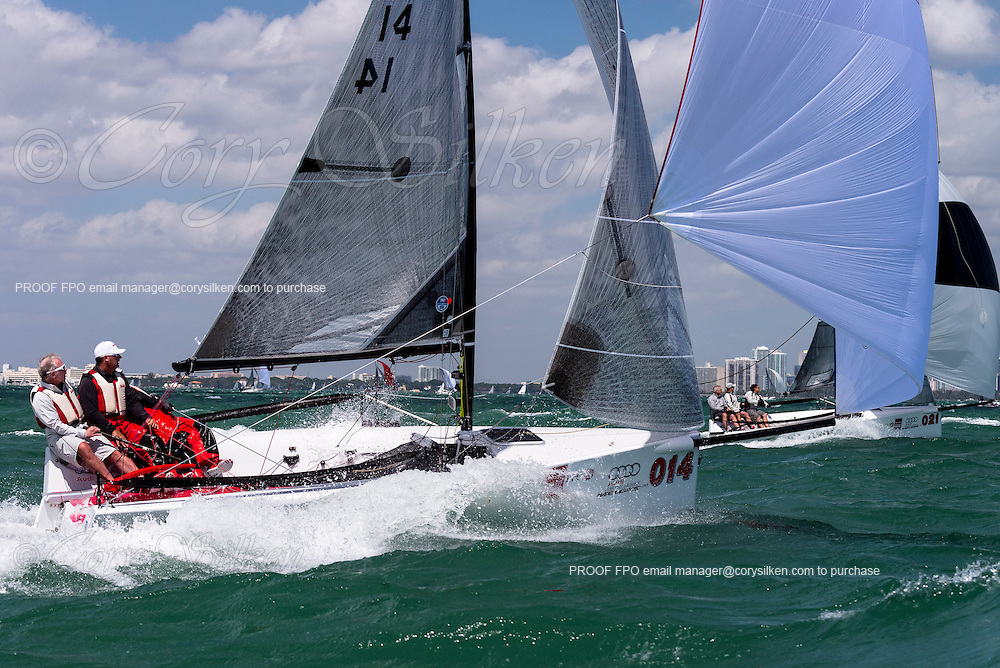 Red Sky, Melges 20 Class, sailing in Bacardi Miami Sailing Week, day five.