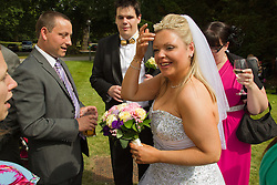 Visually impaired bride at reception.