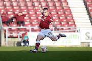 Northampton Town Striker Sam Hoskins takes a shot during the Sky Bet League 2 match between Northampton Town and Newport County at Sixfields Stadium, Northampton, England on 25 March 2016. Photo by Dennis Goodwin.