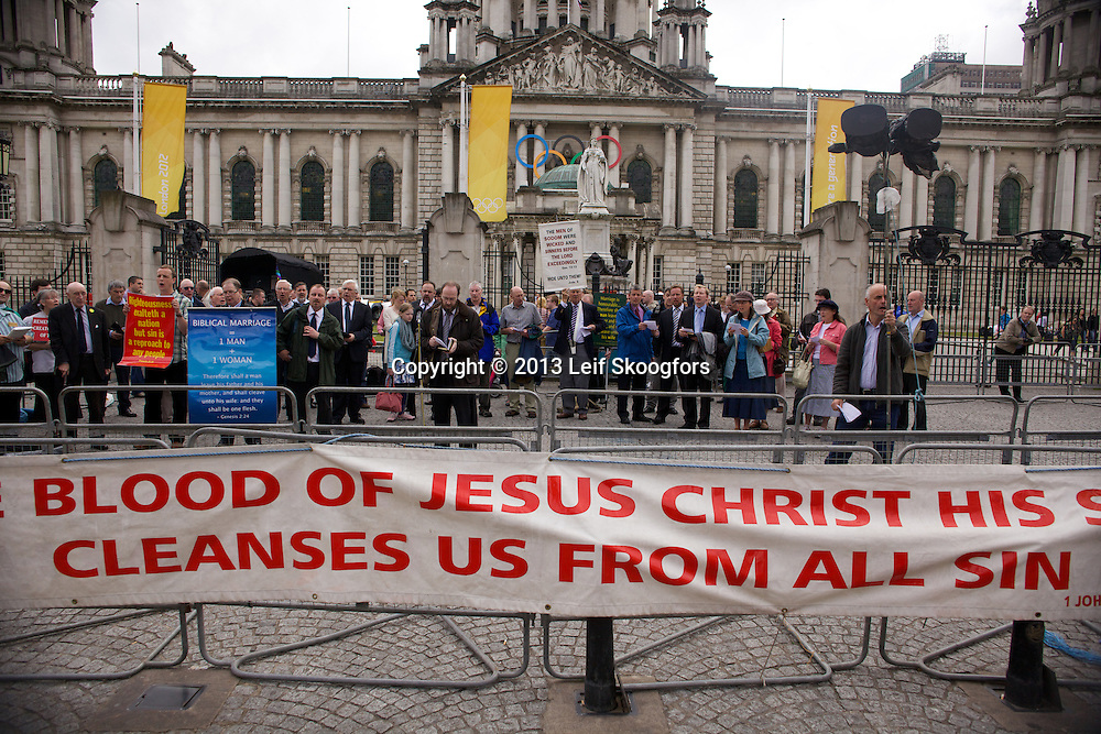August 6, 2012; Belfast, NI: Some 25,000 people took part along the streets of the Belfast for the 22nd annual cross-community event, focusing on inclusion and equality for lesbian, gay, bisexual and transgender (LGBT) people.<br /> Anti-gay protests by Belfast's Free Presbyterian Church were held at City Hall.