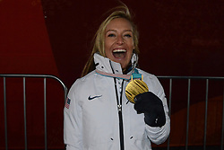 February 12, 2018 - Pyeongchang, South Korea - JAMIE ANDERSON of the United States with her gold medal from the snowboard Ladies' Slopestyle event in the PyeongChang Olympic games. (Credit Image: © Christopher Levy via ZUMA Wire)