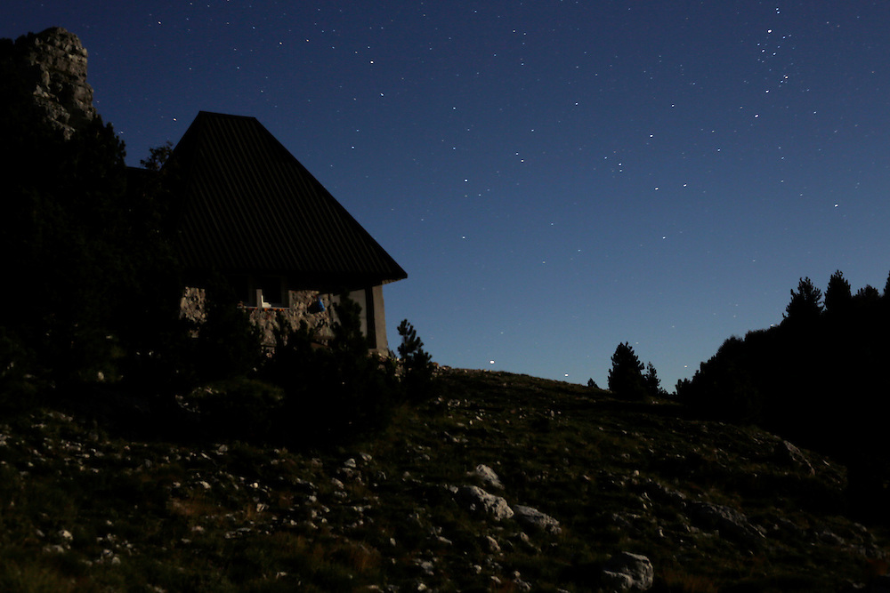 Jezerce mountain hut at night, Prenj mountain, Bosnia and Herzegovina.