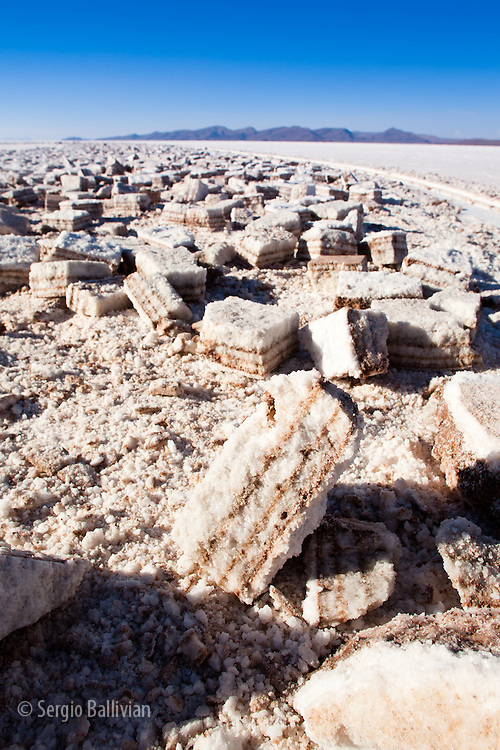 A salt-block cutting operation as seen in the Salar de Uyuni on Bolivia's Altiplano.