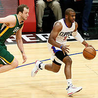 25 April 2017: LA Clippers guard Chris Paul (3) drives past Utah Jazz forward Joe Ingles (2) during the Utah Jazz 96-92 victory over the Los Angeles Clippers, during game 5 of the first round of the Western Conference playoffs, at the Staples Center, Los Angeles, California, USA.