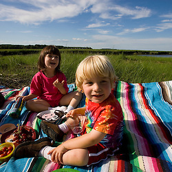 A picnic next tp the tidal estuary in Plum Island Sound.  Sawyer's Island, Rowley, Massachusetts.
