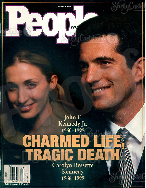 Aug 02, 1999; New York, NY, USA; Cover scan of People Weekly Magazine issue date August 2, 1999 on the cover JOHN F. KENNEDY JR. with Wife CAROLYN BESSETTE KENNEDY.  On July 19, 1999 JFK Jr and his wife died when their plane crashed off the coast of Martha's Vineyard. <br />