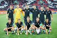 Lodz, Poland - 2019 May 27: New Zealand national U20 team during national anthem while Norway v New Zealand match during FIFA U20 World Cup at Lodz Arena on May 27, 2019 in Lodz, Poland.<br /> <br /> Photo by © Adam Nurkiewicz / www.photosport.nz
