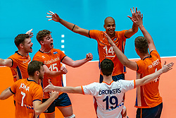 12-06-2019 NED: Golden League Netherlands - Estonia, Hoogeveen<br /> Fifth match poule B - The Netherlands win 3-0 from Estonia in the series of the group stage in the Golden European League / Michael Parkinson #17 of Netherlands, Gijs van Solkema #15 of Netherlands, Nimir Abdelaziz #14 of Netherlands