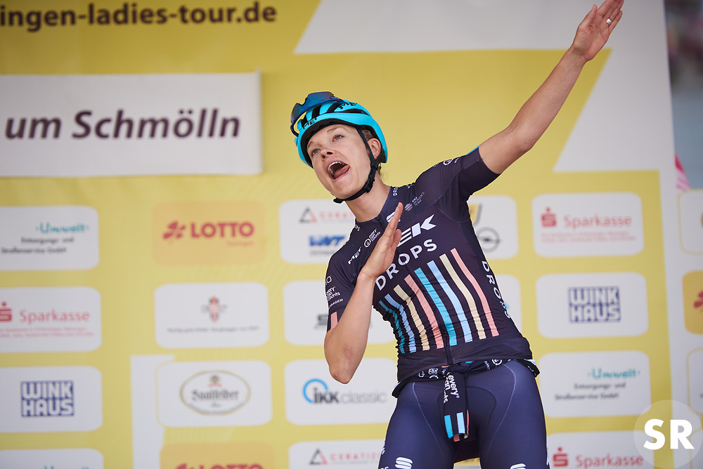 Tayler Wiles (USA) dancing on the podium before Lotto Thuringen Ladies Tour 2018 - Stage 7, an 18.7 km time trial starting and finishing in Schmölln, Germany on June 3, 2018. Photo by Sean Robinson/velofocus.com