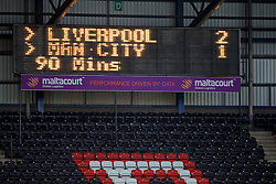 WIDNES, ENGLAND - Sunday, April 26, 2015: The scoreboard records Liverpool's 2-1 victory over Manchester City during the FA Women's Super League match at the Halton Stadium. (Pic by David Rawcliffe/Propaganda)