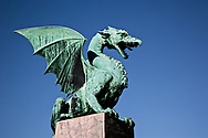 Dragon statue of sheet copper on the Dragon Bridge, Ljubljana, Slovenia, Art Nouveau style, Jurij Zaninovic the architect.