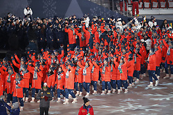 February 25, 2018 - Pyeongchang, KOREA - Athletes from Japan during the closing ceremony for the Pyeongchang 2018 Olympic Winter Games at Pyeongchang Olympic Stadium. (Credit Image: © David McIntyre via ZUMA Wire)