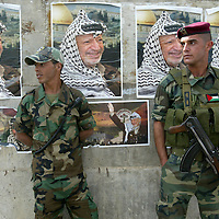 Palestinian soldiers stand guard outside the Mukatta coumpound in Ramallah...Photo by Olivier Fitoussi