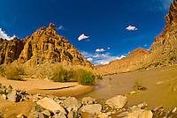 Camping at Rapid 5 in Cataract Canyon, the Colorado River in Canyonlands National Park, Utah, USA.