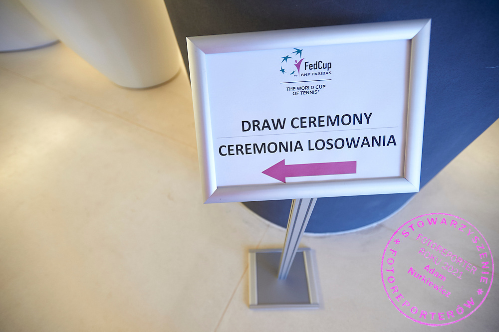 Signs to conference hall during official draw one day before the Fed Cup / World Group 1st round tennis match between Poland and Russia at Holiday Inn on February 6, 2015 in Cracow, Poland.<br /> <br /> Poland, Cracow, February 6, 2015<br /> <br /> Picture also available in RAW (NEF) or TIFF format on special request.<br /> <br /> For editorial use only. Any commercial or promotional use requires permission.<br /> <br /> Adam Nurkiewicz declares that he has no rights to the image of people at the photographs of his authorship.<br /> <br /> Mandatory credit:<br /> Photo by &copy; Adam Nurkiewicz / Mediasport