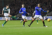Emerson Hyndman has a shot at goal during the Ladbrokes Scottish Premiership match between Hibernian and Rangers at Easter Road, Edinburgh, Scotland on 19 December 2018.