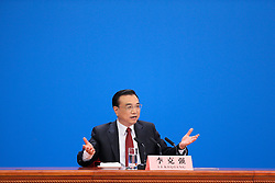 Chinese Premier Li Keqiang speaks at a press conference at the Great Hall of the People in Beijing, capital of China, March 16, 2016. EXPA Pictures © 2016, PhotoCredit: EXPA/ Photoshot/ Chen Junqing<br /> <br /> *****ATTENTION - for AUT, SLO, CRO, SRB, BIH, MAZ, SUI only*****