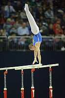 Oleg VERNIAIEV (UKR), competes in the parallel bars, The London Prepares Visa International Gymnastics, Olympic Test Event, North Greenwich Arena, London, England January 13, 2012.