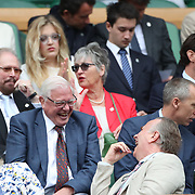 LONDON, ENGLAND - JULY 14: British television presenter David Attenborough in the Royal box on Centre Court for the Gentlemen's Singles Semi-finals of the Wimbledon Lawn Tennis Championships at the All England Lawn Tennis and Croquet Club at Wimbledon on July 14, 2017 in London, England. (Photo by Tim Clayton/Corbis via Getty Images)