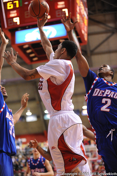 Jan 31, 2009; Piscataway, NJ, USA; Rutgers guard Mike Rosario (3) takes a shot during the second half of Rutgers' 75-56 victory over DePaul in NCAA college basketball at the Louis Brown Athletic Center