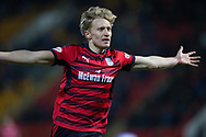 30th December 2017, McDiarmid Park, Perth, Scotland; Scottish Premiership football, St Johnstone versus Dundee; Dundee's A-Jay Leitch-Smith celebrates after scoring for 2-0