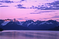 Sunset over Turnagain Arm and the Kenai Peninsula.  Alaska.