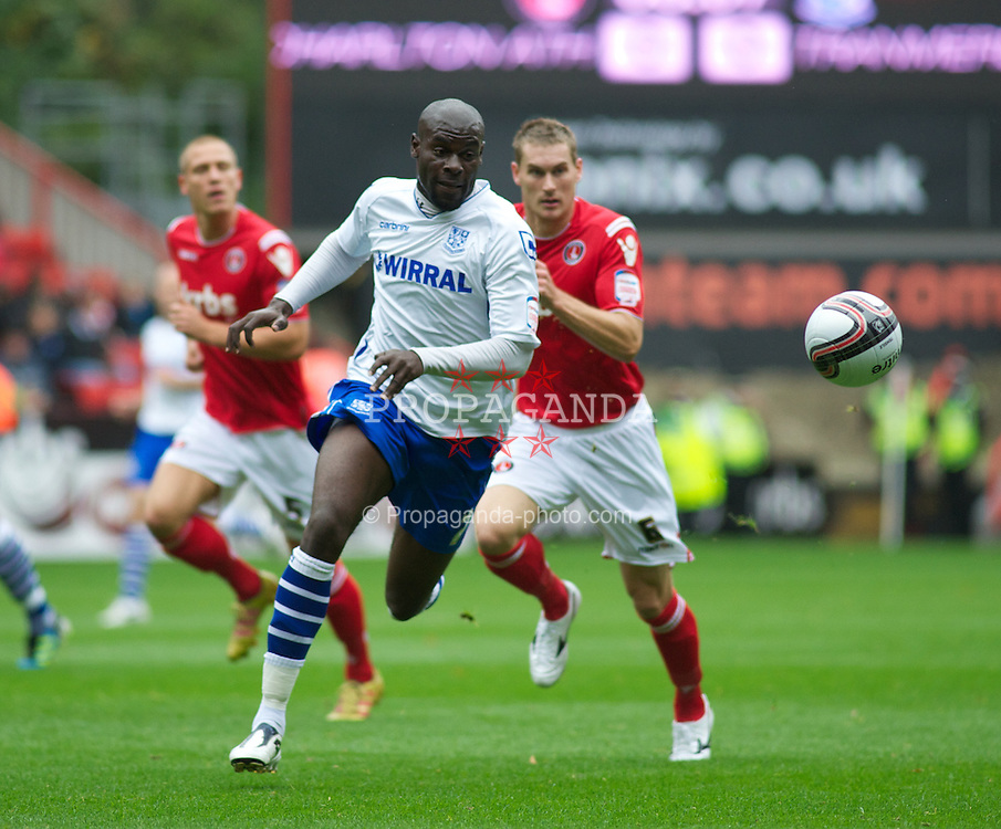 LONDON, ENGLAND - Saturday, October 8, 2011: Tranmere Rovers' Enoch Showunmi in action against Charlton Athletic during the Football League One match at The Valley. (Pic by Gareth Davies/Propaganda)
