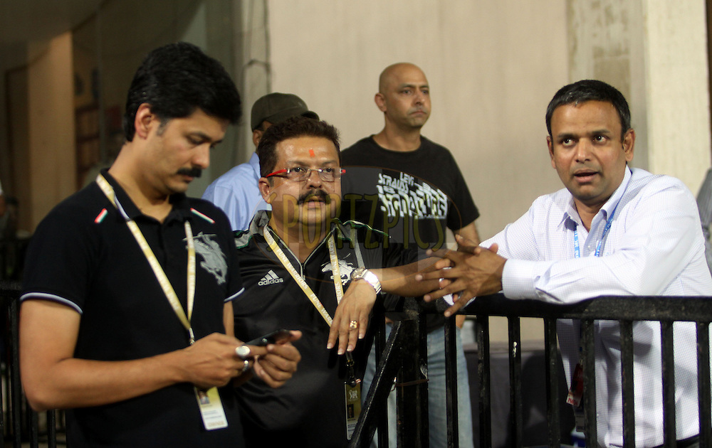 Owner of Pune  Warriors Shushanto Roy ,Amit Gupta and IPL COO Sunder Raman  during match 65 of the Indian Premier League ( IPL ) Season 4 between the Pune Warriors and the Kolkata Knight Riders held at the Dr DY Patil Sports Academy, Mumbai India on the 19th May 2011..Photo by Sandeep Shetty/BCCI/SPORTZPICS..