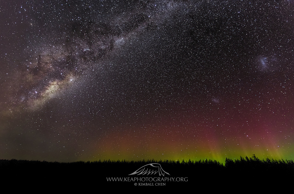 Milky Way....meet the Aurora.  Aurora, meet the Milky Way.  A beautiful cloudless night in Invercargill, Southland, New Zealand.