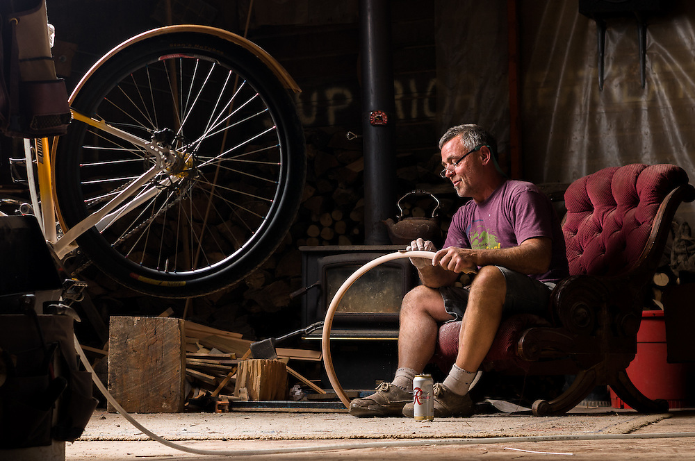 Tom Anderson hand makes wooden fenders in his shop in Bellingham, WA.