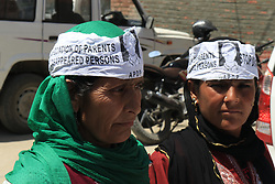 April 28, 2018 - Srinagar, Jammu and Kashmir, India - The Association of Parents of Disappeared Persons (APDP) on Saturday staged a protest demonstration in Press Colony Srinagar demanding justice and information about their disappeared family members..Protestors assembled at press colony holding banners and placards and demanded to trace out their kith and kin who were subjected to enforced disappearances since 1989 in Kashmir (Credit Image: © Faisal Bhat/Pacific Press via ZUMA Wire)