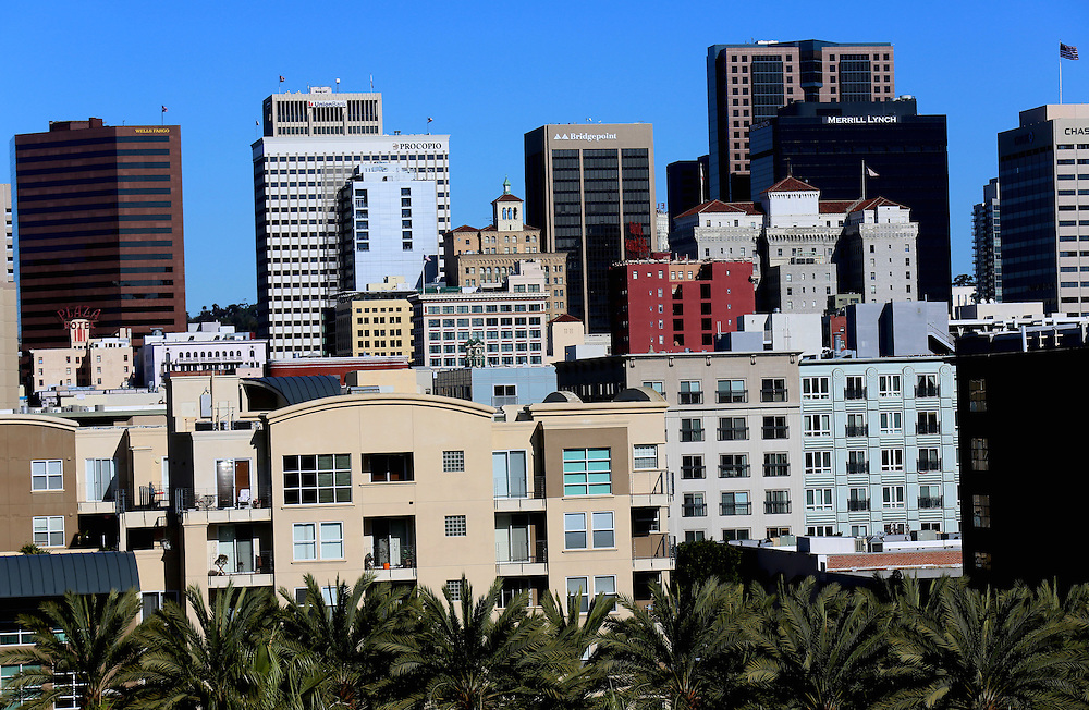 Skyline view of Downtown San Diego, California from the San Diego Convention Center in San Diego, California in January 2013.