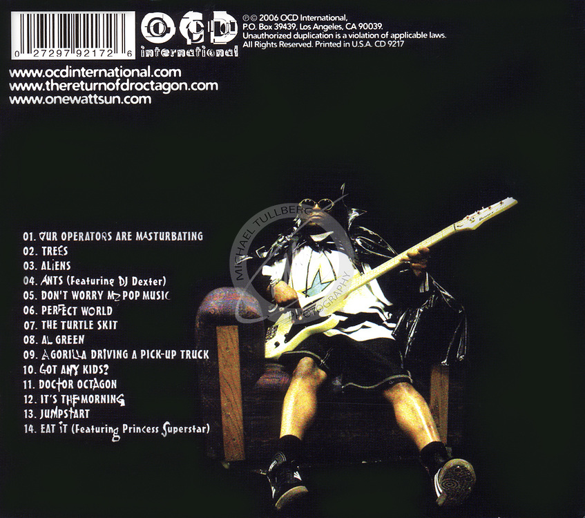 "Back cover for Kool Keith's ""The Return Of Dr. Octagon"" album. One of the shots from this photo session is in the Portraits section of this web site."