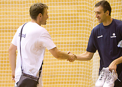 Matjaz Smodis and Mirza Begic during practice session of Slovenian National Basketball team during training camp for Eurobasket Lithuania 2011, on July 12, 2011, in Arena Vitranc, Kranjska Gora, Slovenia. (Photo by Vid Ponikvar / Sportida)