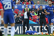 Manchester United Manager Jose Mourinho gestures to Referee Michael Oliver during the FA Cup Final between Chelsea and Manchester United at Wembley Stadium, London, England on 19 May 2018. Picture by Phil Duncan.
