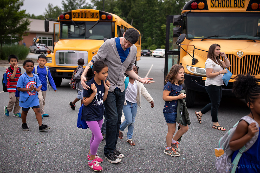 Last day of school at Ronald E. McNair Elementary School.<br /> <br /> Teacher Ryan Mcinturff<br /> <br /> Photographed, Tuesday, June 12, 2018, in Greensboro, N.C. JERRY WOLFORD and SCOTT MUTHERSBAUGH / Perfecta Visuals
