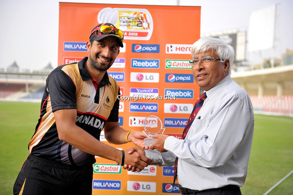Man of the match was awarded to Canada's Amarbir Hansra at the ICC World Twenty20 Qualifier UAE 2012.