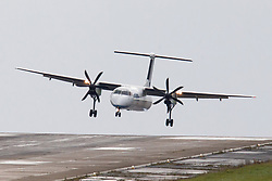 © Licensed to London News Pictures. 13/09/2017. Leeds UK. A Flybe aircraft struggles to land in strong cross winds at Englands highest airport, Leeds Bradford Airport. Photo credit: Andrew McCaren/LNP