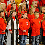Second and third grade students at Pike Liberal Arts School perform during the school's Christmas program, A King is Born, at the school in Troy, Ala., Thursday, Dec. 18, 2014. (Photo/Thomas Graning)